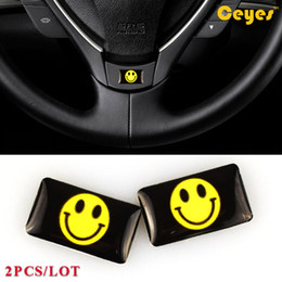 vw car logos Australia - Epoxy car logo sticker Cute Smiled Emblems for bmw audi toyota corolla vw civic m3 Plastic Drop Personalized Stickers Car Styling 2PCS LOT