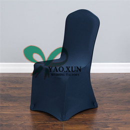 wedding chair cover prices UK - Navy Blue For Wedding Spandex Chair Cover \ Lycra Banquet Chair Covers Factory Price