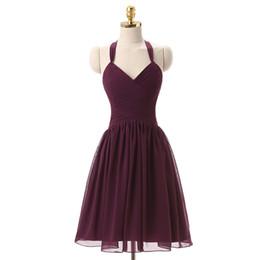 $enCountryForm.capitalKeyWord UK - Grape Purple Halter Neck Chiffon Bridesmaid Dress Short 2017 Knee Length Ball Gown Party Dress Custom Made