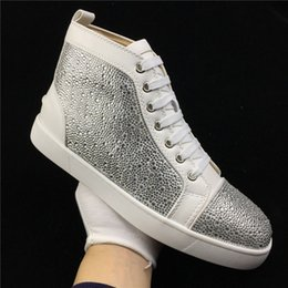 Barato Sapatas Do Partido Do Laço-Nome Marca Superstar Red Bottom Man Sneakers Outdoors Alta qualidade Moda Glitter Crystal Lace Up High Top Casual Man Shoes Party Size 46