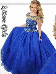 cheap blue caps NZ - Custom Made Royal Blue Wedding Flower Girl Dresses Bateau Neck Beaded Cap Sleeve Floor Length Tulle 2017 Cheap Vintage Girls Pageant Dresses