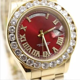 Black face watches online shopping - watches men luxury brand Day Date Red face diamond watch men automatic AAA sapphire K original clasp Mechanical WristWatche
