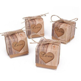 Wholesale Kraft Paper Candy Box Heart Hollow Love Gift Boxes Wedding Party Decoration Faovrs Baby Shower New