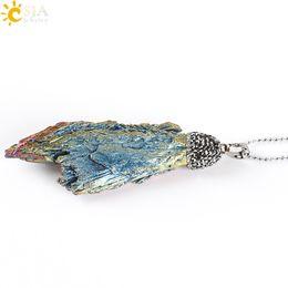 $enCountryForm.capitalKeyWord NZ - CSJA Natural Rainbow Raw Stone Titanium Energy Tourmaline Charms Pendant Beaded Necklace Clear Rhinestone Jewelry Women Men Reiki Gift E307
