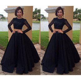 China Fashion Evening Gowns UK - Black 2 Piece Prom Dresses China 2017 Fashion Long Sleeve Beaded Satin Formal Women Evening Gowns A-Line Imported Party Dress