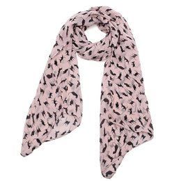 China Wholesale-HOT New Graffiti Cat Kitten Print Scarf Wraps Chiffon Silk Scarves Black Color Wrap Shawl Women Clothes Accessories Jewelry cheap wholesale silk clothing women suppliers