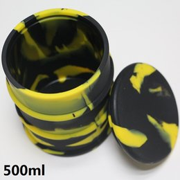 dab wax oil bho jar UK - 500ml Large bho oil barrel vape dab wax silicone jar non-stick butane hash oil silicone container with silicone lid