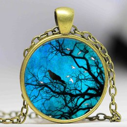 Victorian Art Canada - Gothic Victorian Style Crow in the Night Necklace Art Glass Pendant Glass Dome Pendant Necklace