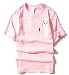 Cat S Collar Canada - Wholesales Hot New fashion Harajuku mens and womens round collar couples pocket middle finger cat small base wacky short sleeve T-shirt