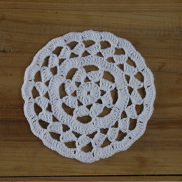 crochet round cloths Canada - Home Textile Handmade Crocheted Doilies Table cloth Napkin pad Round Vintage wedding home decoration Coasters 20PCS 12cm
