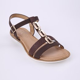16a741db740ea8 HEYIYI Sexy Sweet Women s Summer Beach Casual Sandals Open Toes Gladiator Flats  Large Size Metal Decoration Brown Pink Shoes Wholesale