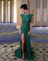 Robes De Soirée Paillettes Vertes Pas Cher-2017 Fashion Dark Green Sequins Robes de soirée Long Mermaid Split O Neck Andar Longueur Robe de bal Robes de soirée Robe De Soiree
