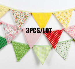 2018 new baby decorations Wholesale- 3PCS LOT Cotton Fabric Banners New Year Decoration Wedding Bunting Decor Birthday Party Baby Shower Garland D