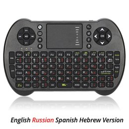 Android Tv Box Hebrew Canada - 2.4G Mini USB Wireless Russian Spanish Hebrew Version Keyboard Touchpad Air Fly Mouse Remote Control for Android Windows TV Box