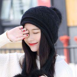 $enCountryForm.capitalKeyWord Canada - Winter Cap Women Knitted Thermal Powder Cap Winter Genuine Pearl Hats for Women Warm Beret Braided Beanie Hat Ski Cap Free Shipping