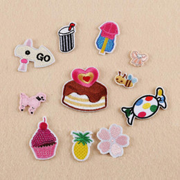 wholesale bee stickers 2021 - Iron On Patches DIY Embroidered Patch sticker For Clothing clothes Fabric Sewing sweet candy cake flower bee design