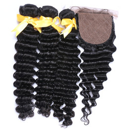 34 inches hair Australia - Deep Wave Silk Base Lace Closure With Bundles Indian Virgin Human Hair Deep Curly Weaves With 4*4 Free Part Silk Top Closure