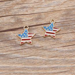 $enCountryForm.capitalKeyWord Canada - 10pcs lot Zinc Alloy Gold Tone American Flag Star Shape Enamel Charm Pendant For DIY Fashion Jewelry Accessories 16*18mm