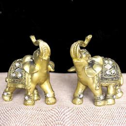 Discount miniature plastic figures - Q -Glory 2pcs Lucky Golden Elephant Decorative Figurine Resin Elephant Figures Home Decoration Accessories Miniature Gar
