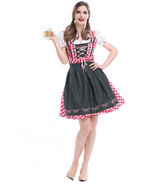Oktoberfest Halloween Costumes Canada - Women Halloween Maid Cosplay Costume Bavarian Beer Girl Dress Oktoberfest Servant Costume Gothic Lolita Grid Dress