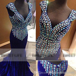 $enCountryForm.capitalKeyWord Canada - Vintage Backless Royal Blue Velvet Prom Dresses 2017 V Neck Cap Sleeves Sparkly Crystals Plus Size Formal Evening Occasion Pageant Wears