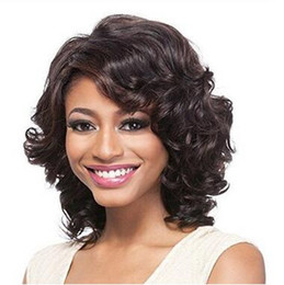 short styles for curly hair UK - New Arriving Simulation Human Hair short bob style colors wave full wigs for black women free shipping