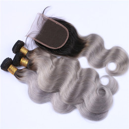 ombre human hair wefts NZ - 3Pcs 1B Grey Ombre Peruvian Human Hair Wefts With Closure Body Wave Silver Grey Ombre Lace Closure 4x4 With 3 Bundles Extensions