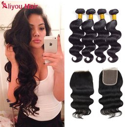 color weaves Canada - New Arrival Cheap Body Wave Human Hair Lace Closure with Brazilian Malaysian Indian Peruvian Body Wave Hair Weaves 4 Bundles Natural Color