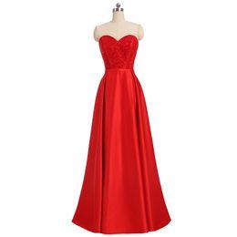 $enCountryForm.capitalKeyWord UK - Beaded Satin Long Evening Dresses Lace Up 2018 Red Floor Length Evening Gowns Elegant Formal Dress Wear