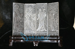 Screen Antique Canada - Exquisite Chinese collection Tibetan silver carving Four beauties folding screen
