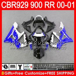 Honda Cbr929 Australia - Body For HONDA CBR 929RR CBR900RR CBR 929 RR CBR929RR 2000 2001 Blue silver 67NO36 CBR900 RR CBR 900RR CBR929 RR 00 01 Fairing kit 8Gifts