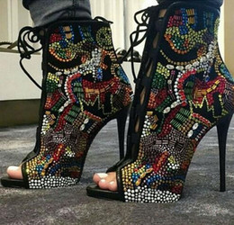 Faux Fur Booties Women Canada - Comic Rhinestone Studded Bridal Shoes Woman Peep Toe Suede Booties Lace Up Stiletto High Heels Crystal Ankle Boots Women High Heeled Pumps