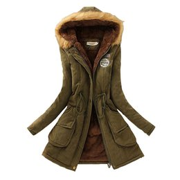 female military jackets 2019 - Winter Women Coat 2017 Parka Casual Outwear Military Hooded Coat Woman Clothes Fur Coats female Winter Jacket Women CC00