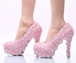 party dresses tall women 2019 - New code with 14 cm tall crystal bride shoes Picture taken waterproof single shoes Ultra-high with pink lace cheap party