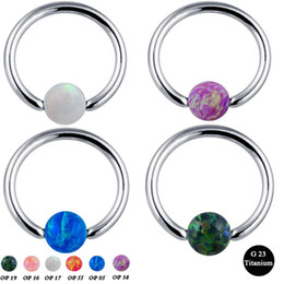 Lip Piercing Wholesale NZ - 1pc G23 Titanium Septum Piercing Nose Ring Opal Ball Closure Nipple Lip Tragus Eyebrow Earring Nose Rings Body Jewelry