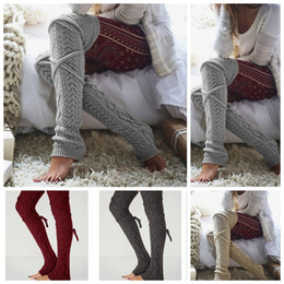 Cable knit boots online shopping - Women Winter Warm Cable Knitted Long Boot Socks Over Knee Thigh High Stockings Socks Leggings Pairs LJJO2930