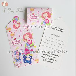 Discount theme party supplies wholesale - Wholesale- Party supplies 20PCS children girl strawberry princess theme party, party decoration invitation card cartoon