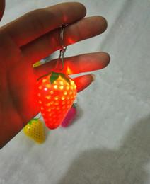 $enCountryForm.capitalKeyWord NZ - Novelty Strawberry luminous LED flashing light up keychain Key Ring Keyring Keyfob Keyrings mobile phone chain pendant Accessories