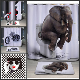 32cb Toilet Elephant Lipstick Upscale Girl Bathroom Shower Curtain Polyester Waterproof Thicker Showers Curtains High Easticity Hot Sale