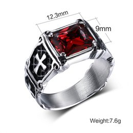 $enCountryForm.capitalKeyWord Canada - Wholesale High Quality 316 Stainless Steel Punk Rings Gem Stone with Cross Army Ring For Men Size #7-12
