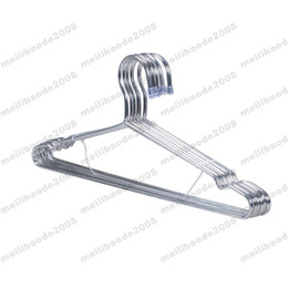 Steel Closets Canada - NEW High Quality 42cm Metal Hanger for Clothes with Groove   Anti-rust Stainless Steel Hanger FREE SHIPPING MYY