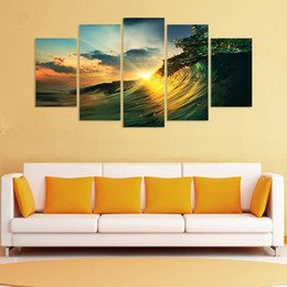 print large pictures NZ - Framed 5 Panel Large HD Waves Sunset Seaview Painting Printed on High Quality Canvas,For Home Wall Decor size can be customized