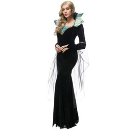 $enCountryForm.capitalKeyWord UK - Gothic Queen Cosplay Long Dress Women Halloween Gorgeous Fancy Dress Masquerade Witch Vampire High Neck Costume