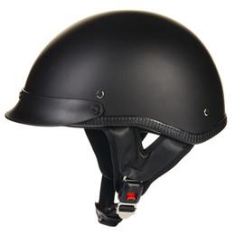 Al por mayor- Casco de motocicleta de cara abierta ILM 1/2 Aprobado por el DOT Unisex de liberación rápida Gorra de cráneo de perfil bajo Casco medio Vintage Negro S M L XL