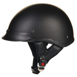 Wholesale- ILM 1 2 Open Face Motorcycle Helmet DOT Approved Unisex Quick Release Skull Cap Low Profile Half Helmet Vintage Black S M L XL from vespa helmets suppliers