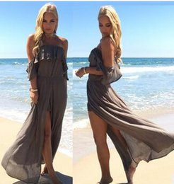 Maxi Long Été Plage Sundresses Pas Cher-Beach Wind Bohemian Long Dress Casual Couleur simple Mode simple Femmes été vêtements sexy beach maxi dress beach sundresses