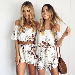 Trabajo Chic Baratos-Sexy Off Blusa con estampado de hombros Backless Overol Womens Working Summer Mayo 2017 Elegant High-Elegante Chic Party Playsuit