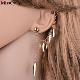 gold leaves Canada - MissCyCy Gold Color Earrings For Women Bohemia Jewelry 2016 Fashion Alloy Leaves Tassel Ear Cuff Clip Earrings From India