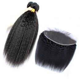 kinky mongolian hair weave NZ - Mongolian Kinky Straight Virgin Hair Weaves With Lace Frontal Closure Italian Coarse Yaki Lace Frontal With Bundles 8A Grade Human Hair
