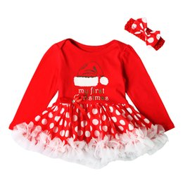 1a3640d61e623 baby girls clothing sets red christmas clothes suits headwear+rompers girl  kids outfits Xmas clothing set lace puff dress romper Xmas gifts